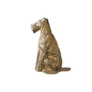Vintage Maitland Smith Brass Scottish Terrier Doorstop Life Size Statue For Sale