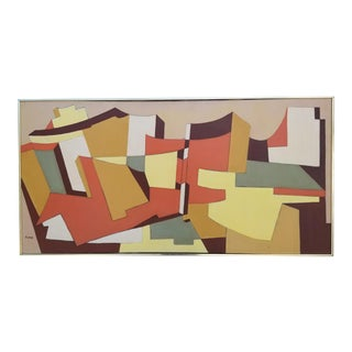 1970's Vintage Abstract Geometric Painting by Ruth Furie For Sale