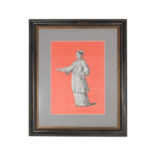 Framed Chinoiserie Grisailles Chinese Noblewoman on Coral Silk Painting For Sale