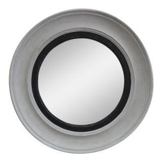 Antique White Painted Convex Mirror For Sale