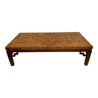 Burlwood Chippendale Style Coffee Table For Sale