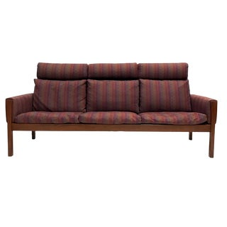 Rare Hans Wegner Teak Frame Sofa for a.p. Stolen High Back Version For Sale