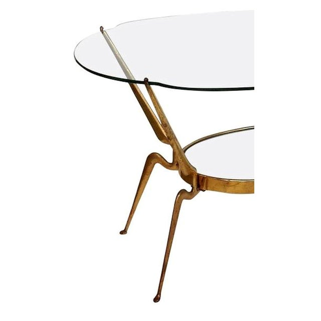 Mediterranean 1950s Italy Mid-Century Modern Brass / Glass Coffee Table by Cesare Lacca For Sale - Image 3 of 6