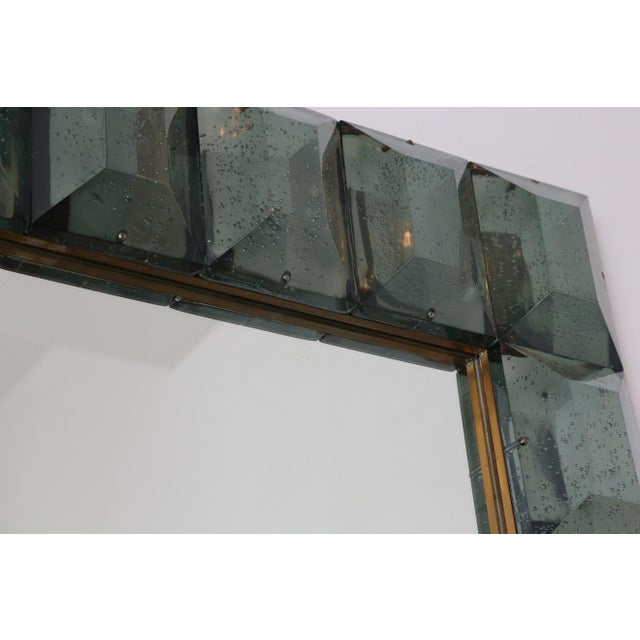 Late 20th Century Faceted Murano Glass Mirror in Sea Green For Sale - Image 5 of 6