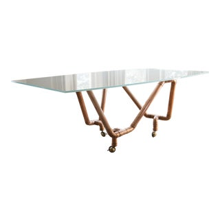 1990s Contemporary Copper and Glass Dining Table.
