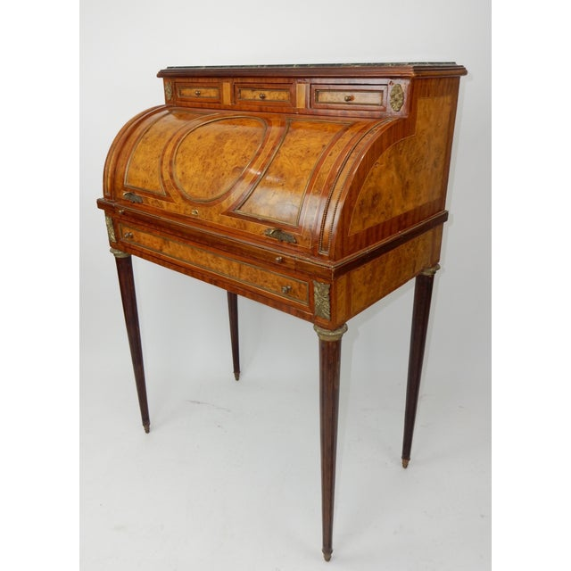 Gorgeous Antique French Louis XVI Inlaid Burl and Mahogany Cylinder desk.  Beautiful grains and color - Late 19th Century Louis XVI Inlaid Burl Walnut And Mahogany Rolltop