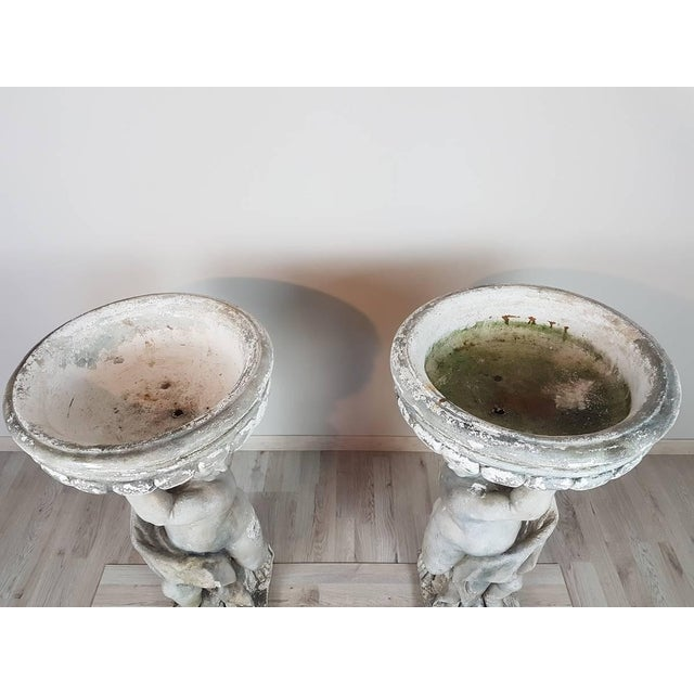 20th Century Italian Neoclassical Garden Pots With Statues Set, Garden Ornament For Sale - Image 4 of 8