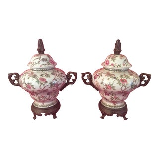 Porcelain and Brass Vases or Urns - Set of 4 For Sale