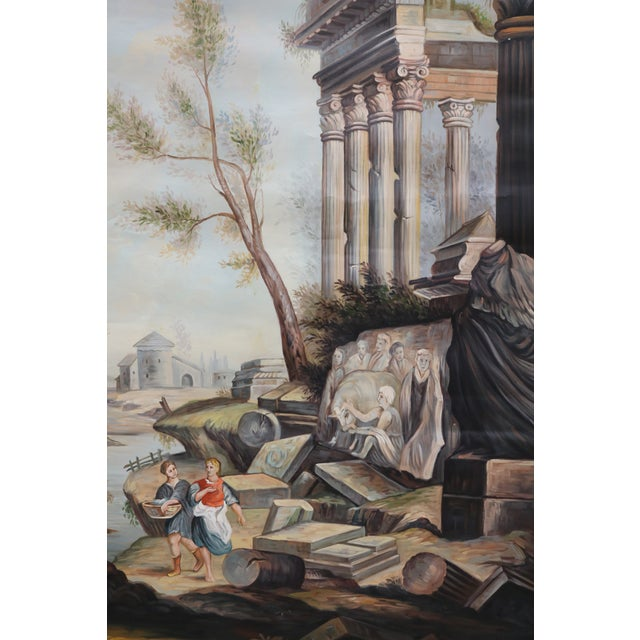 Realism Oil on Canvas Painting of Ancient Ruins Beside a River For Sale - Image 3 of 7