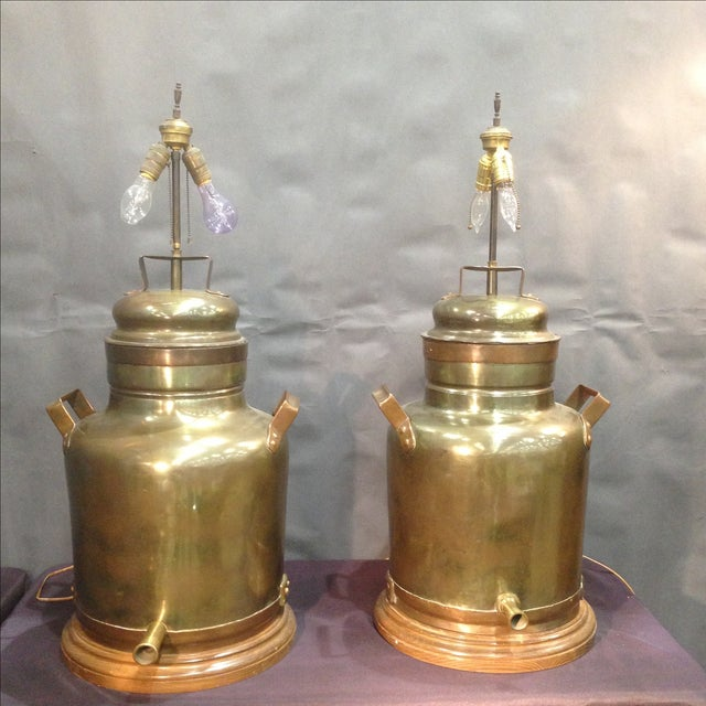 Monumental Brass Tea Canister Lamps- A Pair - Image 2 of 9