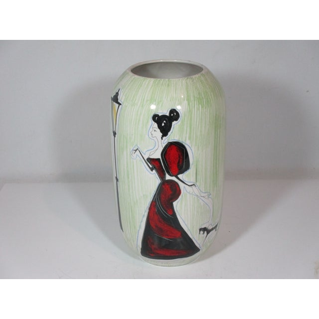 Pistachio Vintage Italian Hand Painted Vase For Sale - Image 8 of 8