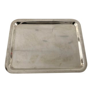 Midcentury Style Silver Plate Heavy Tray For Sale