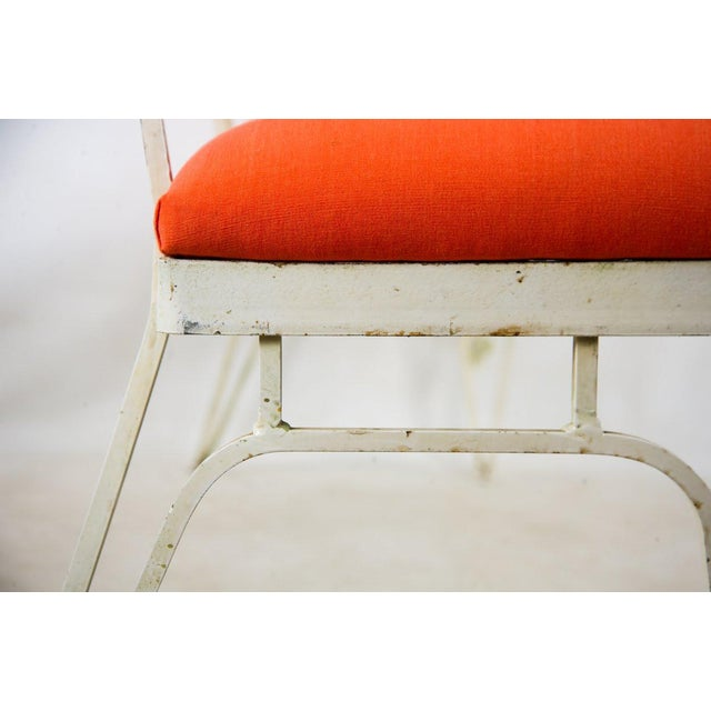 Hollywood Regency Orange and White Iron Benches - a Pair For Sale - Image 9 of 13