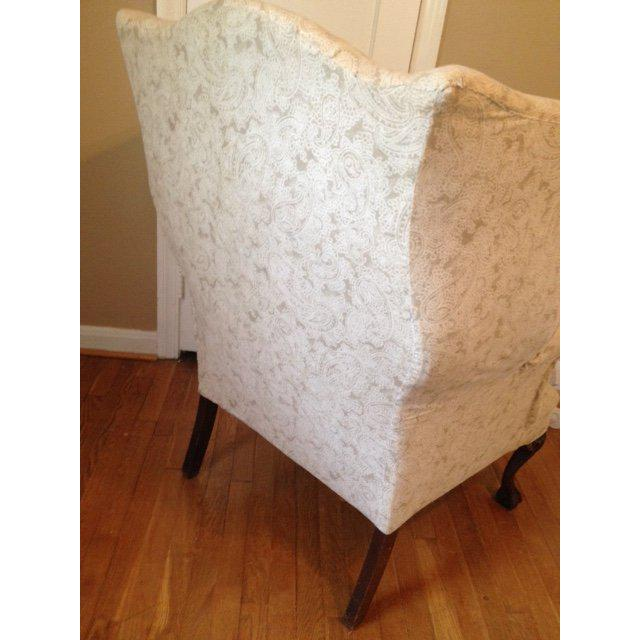 20th Century Queen Anne Antique White Upholstered Mahogany Wingback Chair For Sale - Image 4 of 7