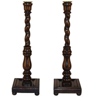 19th C Oak Candlesticks - a Pair For Sale