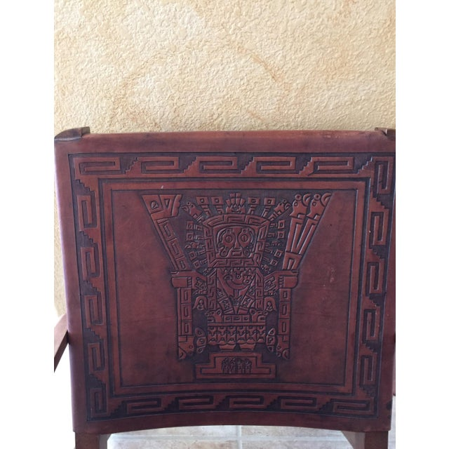 Rare Mid Century Folding Hand Tooled Leather Chair - Image 3 of 5
