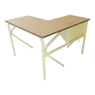 1970s Boho Chic Metal Writing Desk With Adjustable Laptop Return