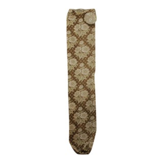 Antique 1880s French Belle Epoque Khaki Sage Green Floral Printed Bolster Fabric For Sale