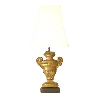 French Bronze Urn Form Lamp W/ Shade For Sale