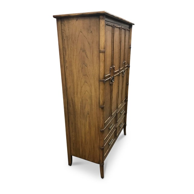 Stanley Furniture Vintage Faux Bamboo and Rattan Armoire For Sale - Image 4 of 8