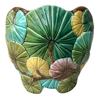 Late 19th Century Vintage Luneville Majolica Aquatic Lily Pads Planter For Sale