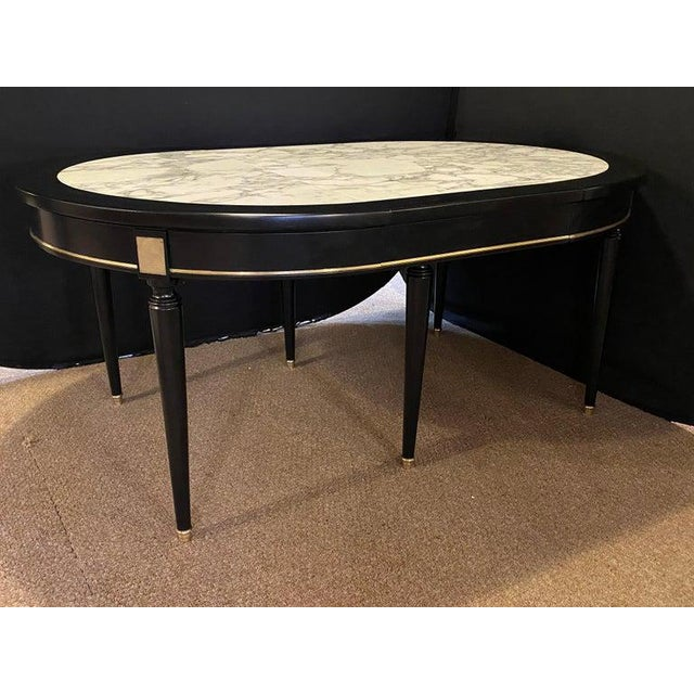 Hollywood Regency Jansen Style Ebony Center Dining Table Marble Top French For Sale - Image 11 of 12