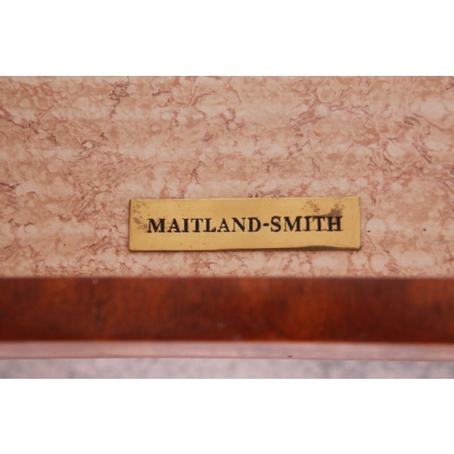 Maitland Smith Flame Mahogany and Leather Chest on Chest Highboy Dresser For Sale - Image 12 of 13