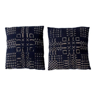 Antique Jacquard Coverlet Pillows Set of 2 For Sale