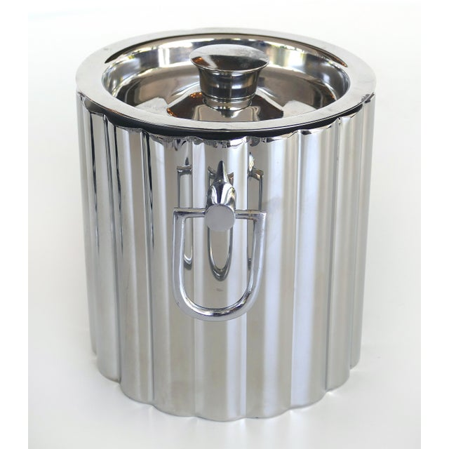 Vintage Stainless Steel Art Deco Style Ice Bucket For Sale - Image 4 of 7