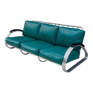 Kem Weber for Lloyd Art Deco Chrome Sofa