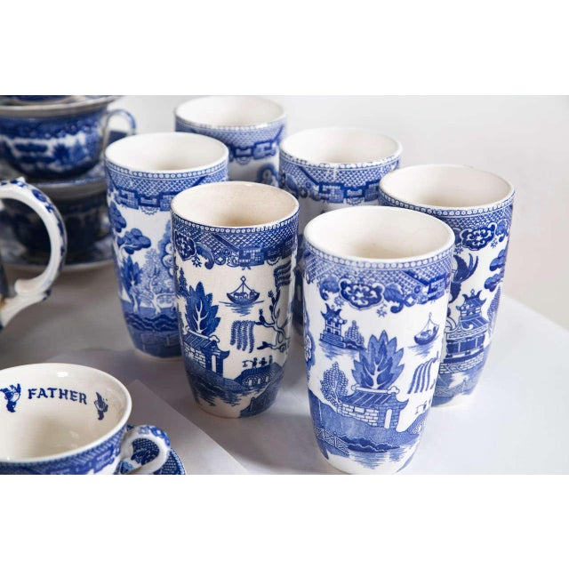 Vintage Collection of Blue and White Willow - Set of 40 For Sale In New York - Image 6 of 12