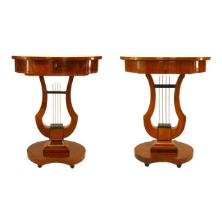 German Biedermeier Mahogany Lyre End Tables For Sale