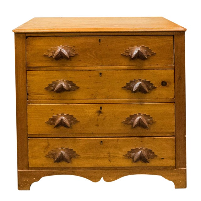 Antique Primitive Pine Chest of Drawers With Leaf Handles - Antique Primitive Pine Chest Of Drawers With Leaf Handles Chairish