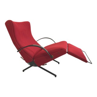 Original Osvaldo Borsani P40 Lounge Chair With Red Tecno Fabric For Sale