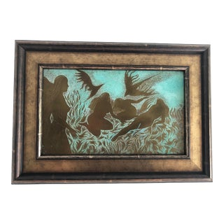 Surrealist Bronze Female Nudes and Birds Plaque in Philip and Kelvin LaVerne Style, Framed For Sale
