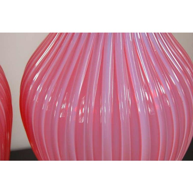 1960s Marbro Murano Opaline Glass Table Lamps Pink For Sale - Image 5 of 10