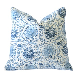 Blue Block Print Pillow Cover 18x18 For Sale