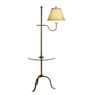 Dana Creath Handmade Iron Floor Lamp With Linen Shade and Glass Table For Sale