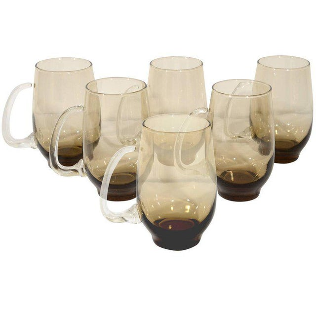 Set of Six Mid-Century Modern Tinted Glass Mugs by Libbey Glass Co. For Sale - Image 10 of 13