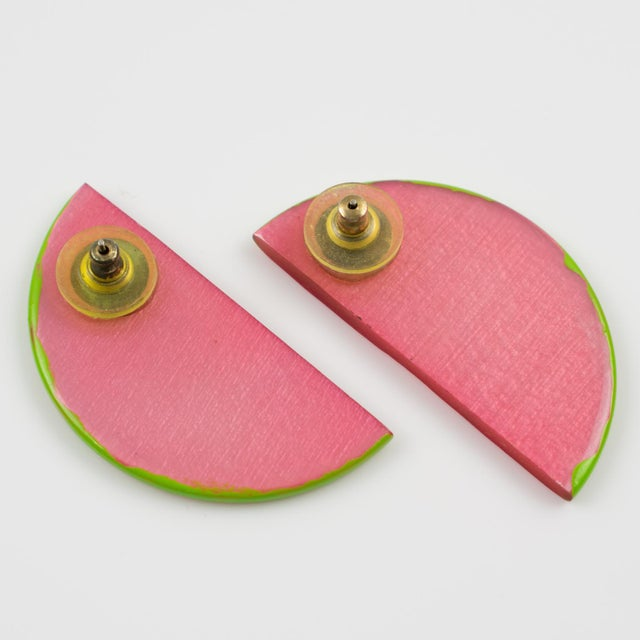 Watermelon Slice Pink and Green Lucite Pierced Earrings For Sale - Image 4 of 6