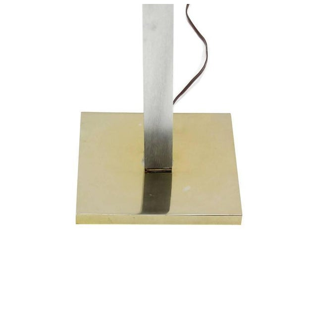 Chrome Brass Glass Table Floor Lamp Square Side Table For Sale - Image 4 of 5