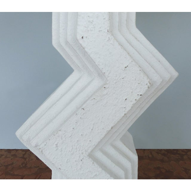 White Mid-Century Modern Geometric Plaster Table Lamps-A Pair For Sale - Image 8 of 13