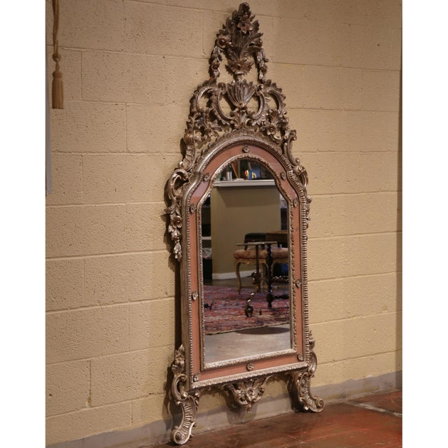 Mid-20th Century, Italian Carved Silver Leaf Mirror With Painted Coral Trim For Sale In Dallas - Image 6 of 8