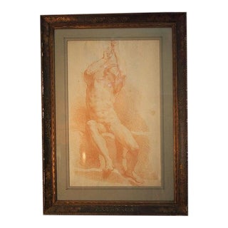 Early 19th Century Seated Male Red Chalk Study Drawing, Framed For Sale