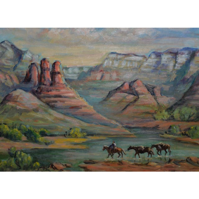 """Canvas Arizona Western Landscape """"near Flagstaff"""" Oil Painting by Francoise For Sale - Image 7 of 9"""