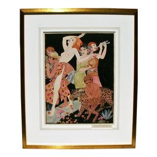 "1925 ""Bacchanal"" Watercolor Painting"