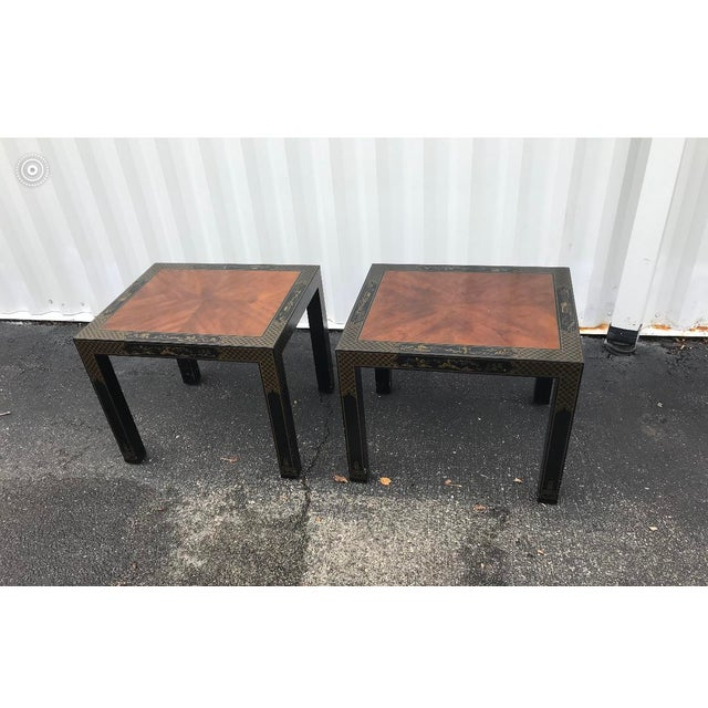 Wood Drexel Heritage Etc Cetera Chinoiserie Parsons Tables a Pair For Sale - Image 7 of 7