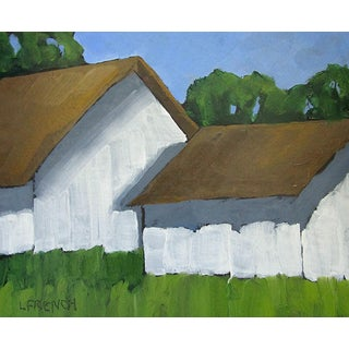 Contemporary California Country Farm Barns Landscape Painting Lynne French Art For Sale
