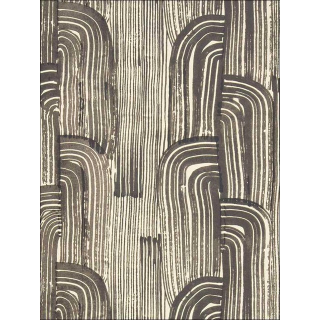 Groundworks Crescent Wallpaper in Ebony/Cream For Sale