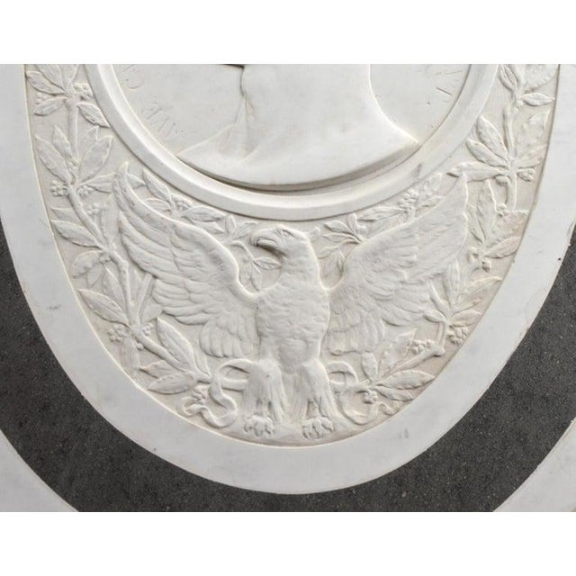 Large 19th Century Oval Marble Relief of the Roman Emperor Claudius With Eagle For Sale - Image 4 of 10